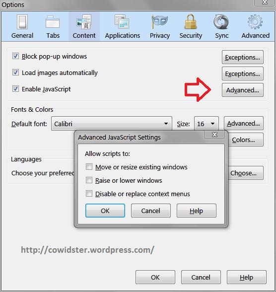 Disable java script Firefox