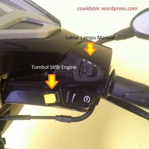 Saklar lampu manual dan tombol Stop Engine